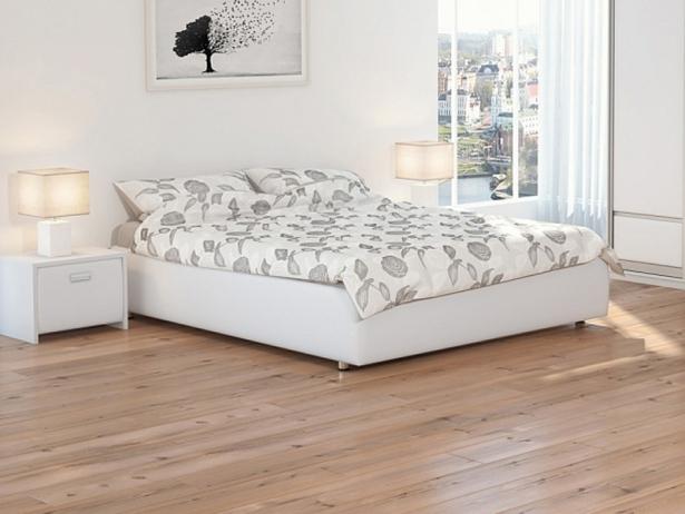 Кожаная кровать Veda 1 Base белая
