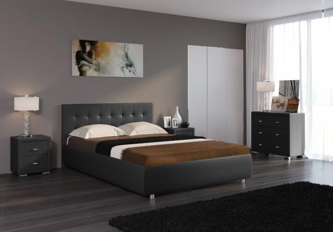 Черная кровать Veda 1