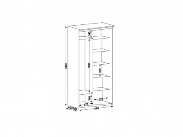 Шкаф купе Эконом 2-х дверный с зеркалом ширина 119 см